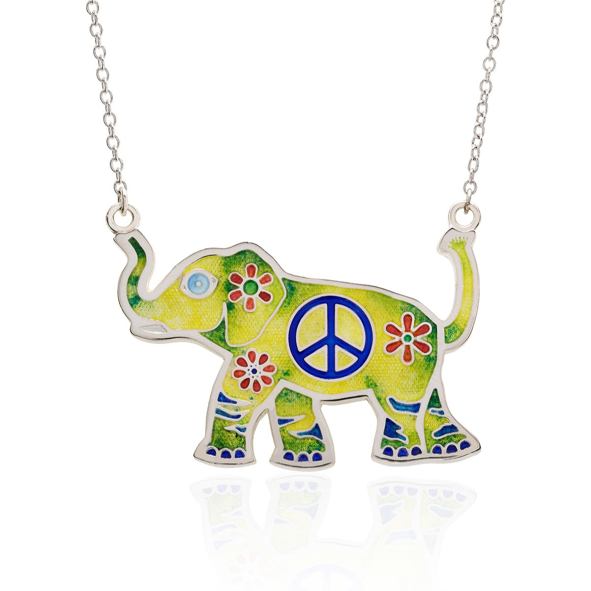 Peace Loving Hippy Yippy Elephant Enameled on Fine Silver - studio-margaret
