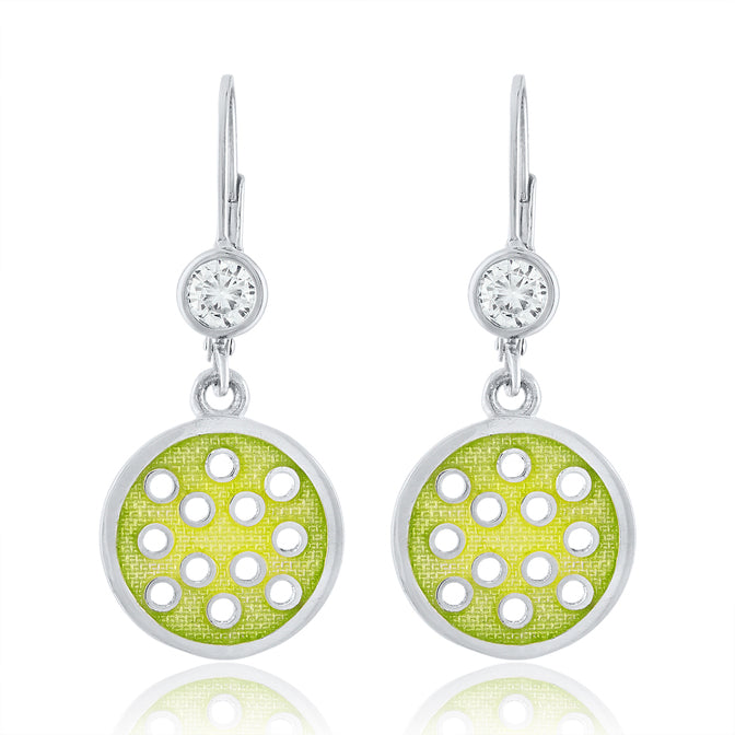 Enamel Pickle ball Pendant and Earrings