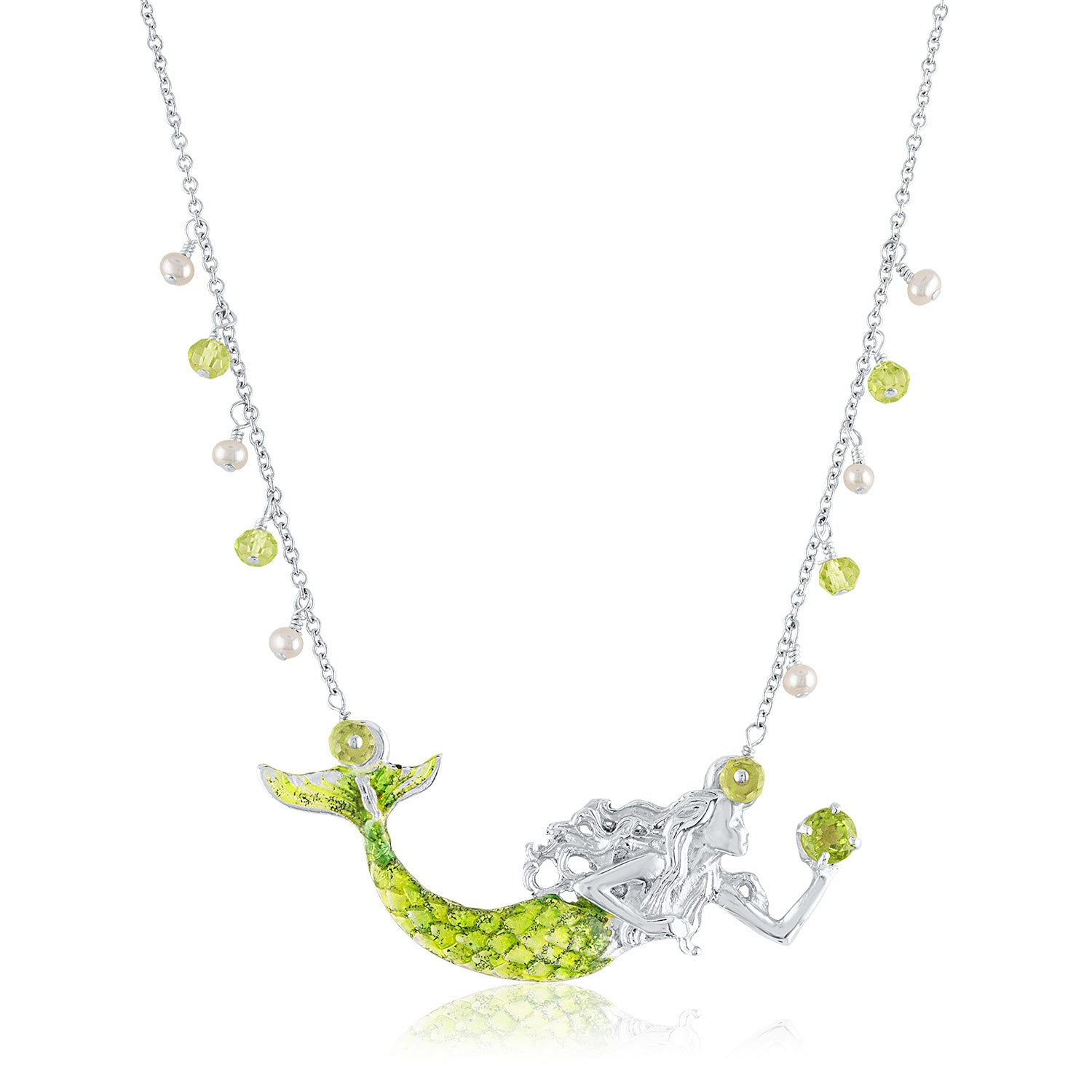 Enamel Mermaid with Pearl and Peridot Necklace