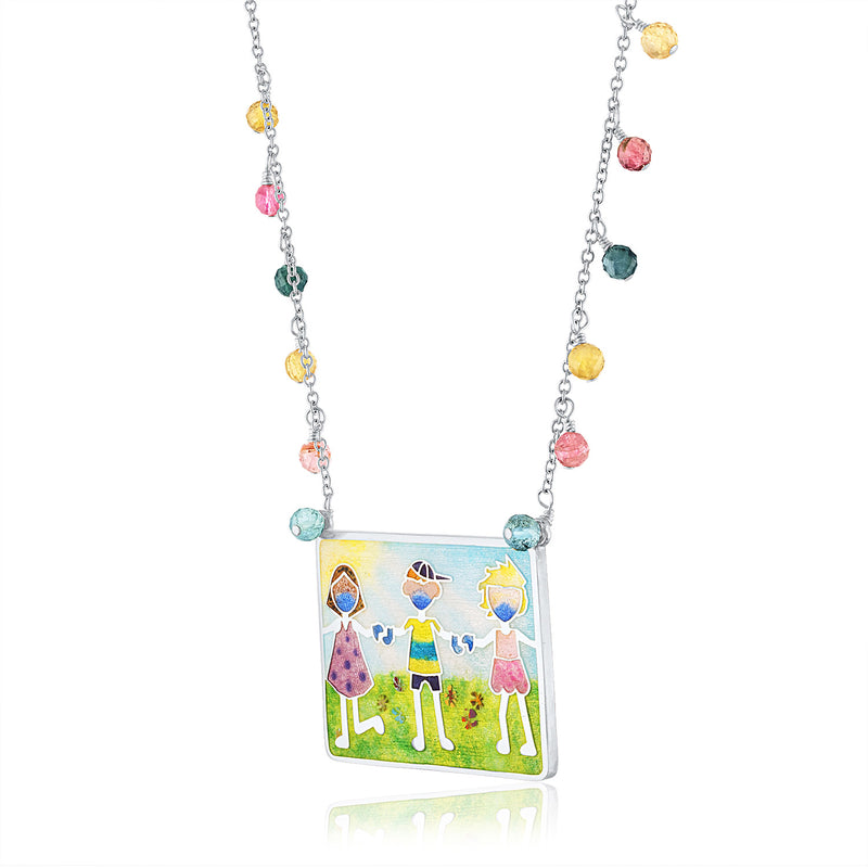 Enamel Limited Edition Children Playing Covid-19 commemorative Necklace