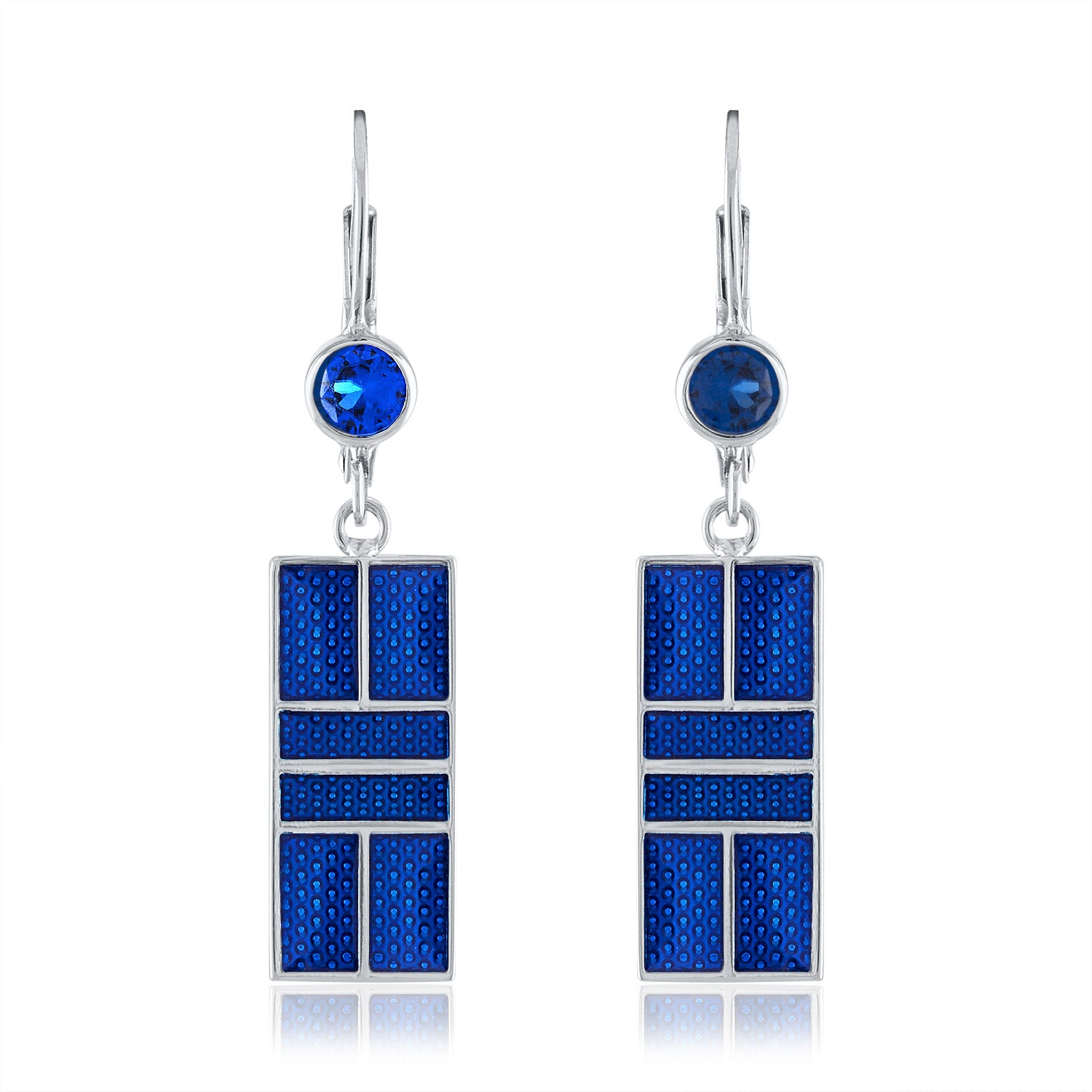 Enamel Pickleball Court Lever Back Earrings