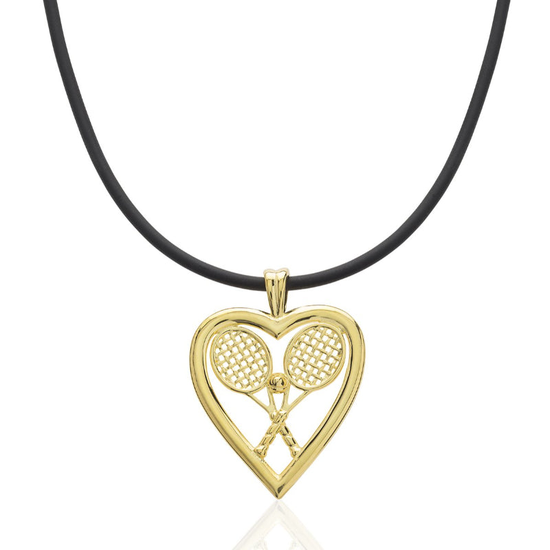 Heart w/ Double Racquets and Ball Pendant - studio-margaret