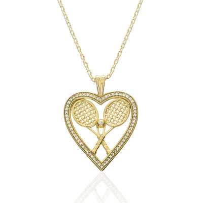 CZ Heart with Double Racquets and Ball Pendant