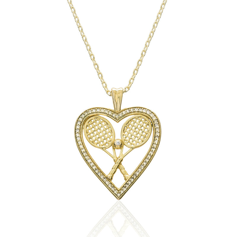 CZ Heart w/Double Racquets and Ball Pendant - studio-margaret