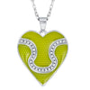 Enamel Tennis Ball Heart Pendant with CZ