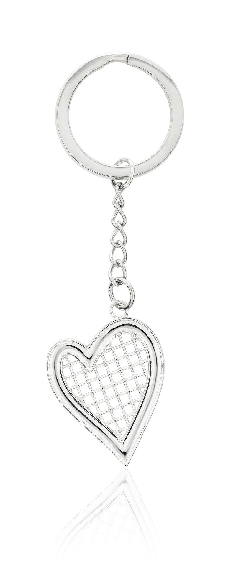 Heart Strings Key Ring and Bag tag Sterling Silver XL