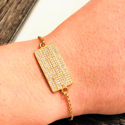 CZ Tennis Court Curved Bracelet Medium