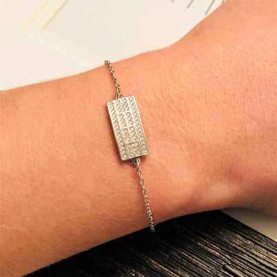 CZ Tennis Court Curved Bracelet Small