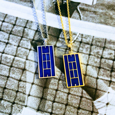 Blue Enamel Tennis Court Pendant - studio-margaret