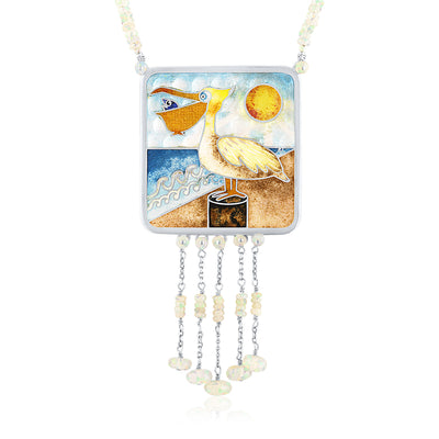Limited Edition Enamel Pelican Necklace