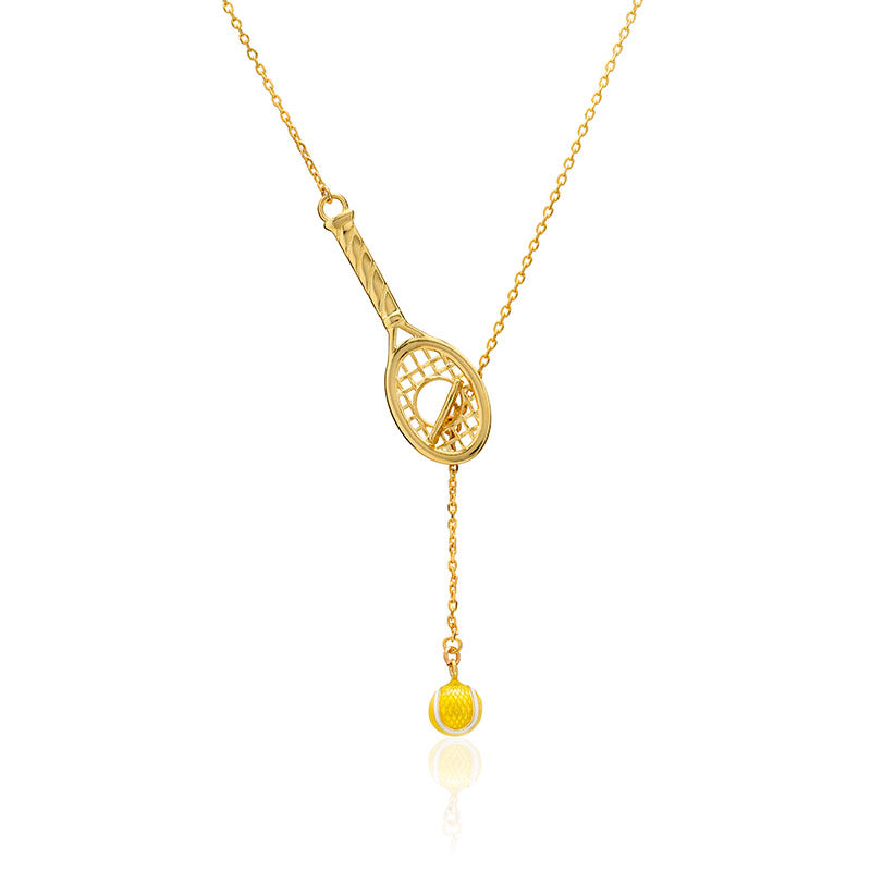 Love Racquet Lariat Necklace with Enamel Tennis Ball - studio-margaret
