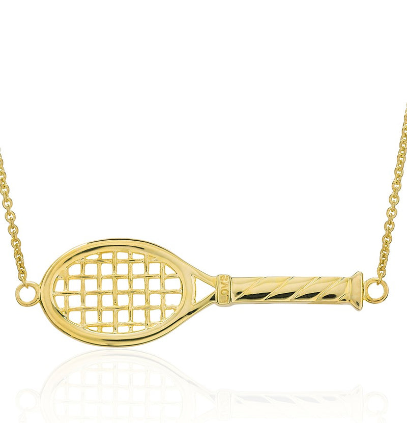 14Kt Gold Love Racquet Necklace