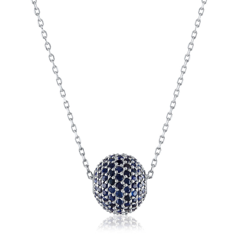Large Pave Sapphire Bead Necklace