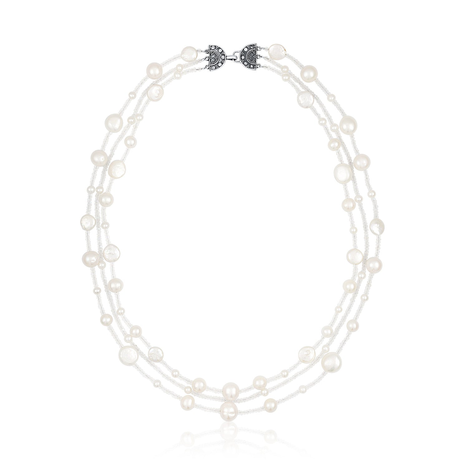 Pearl and Moonstone 3 Strand Necklace