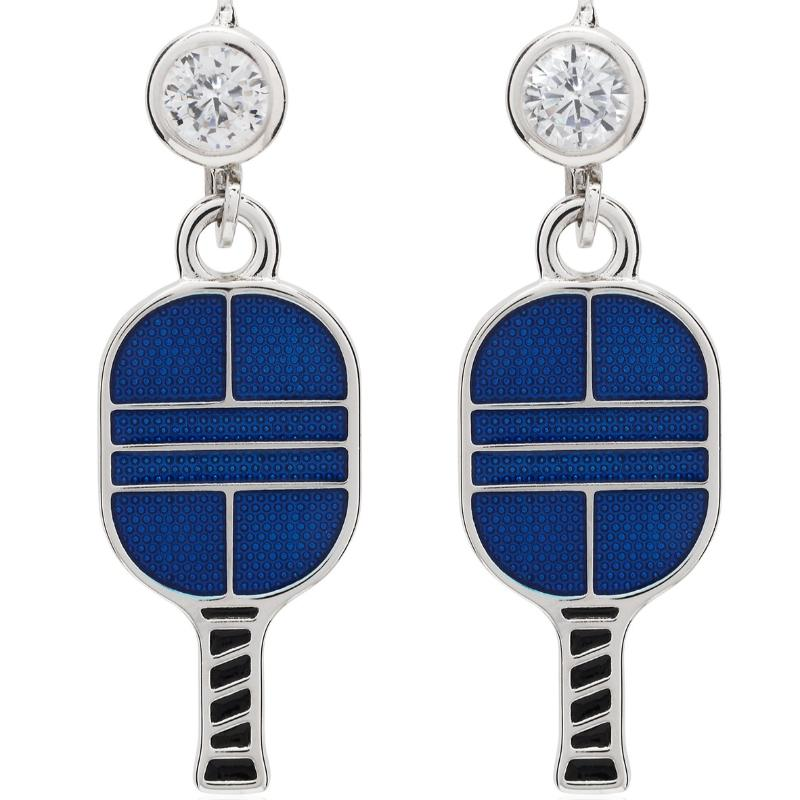 Enameled Pickleball Paddle Leverback Earrings - studio-margaret