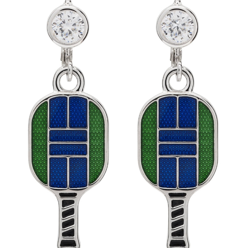 Enamel Pickle ball Paddle Lever Back Earrings