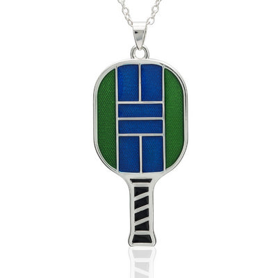 Enameled Pickleball Paddle Pendant - studio-margaret