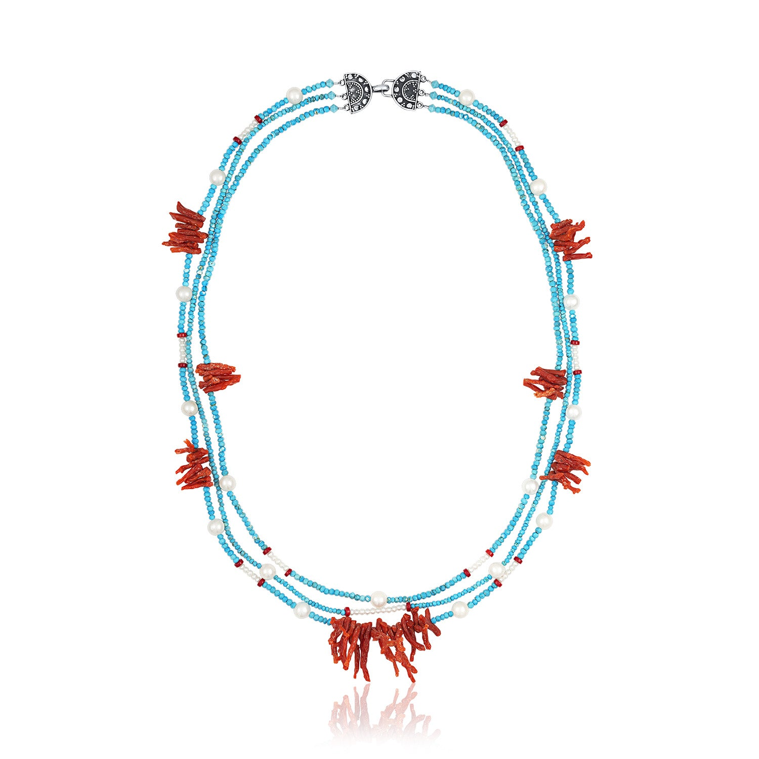 Turquoise, Red Coral and Pearl Three Strand Necklace