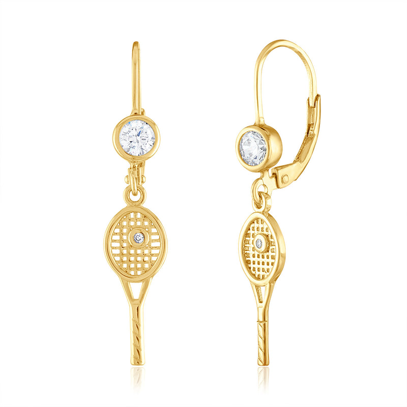 Tiny Racquet with bezel CZ Leverback Earrings