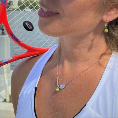 Enamel Tennis Ball Earrings