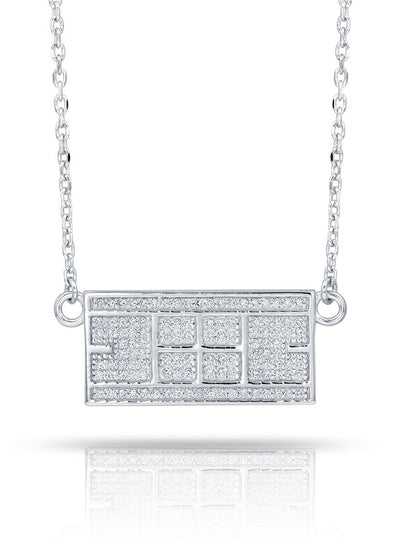 CZ Tennis Court Necklace Medium Rhodium Plated Sterling