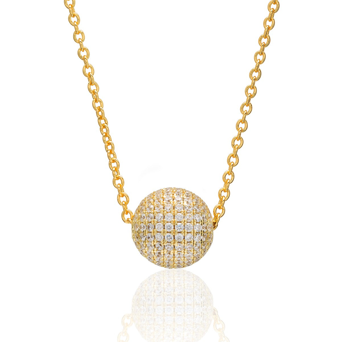 Cubic Zirconia Geometric Pave Ball Bead Necklace