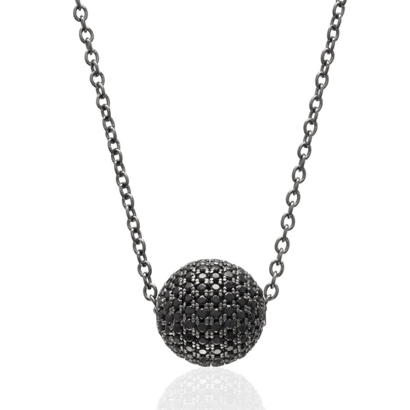 Black Bead Pave Tennis Ball Necklace