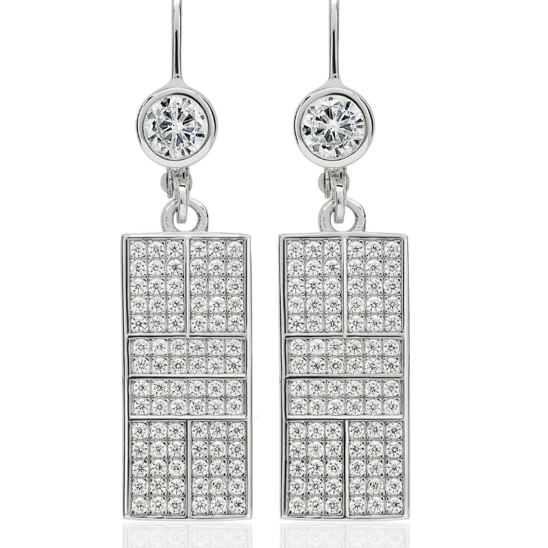 CZ Pickle Court Lever Back Earrings