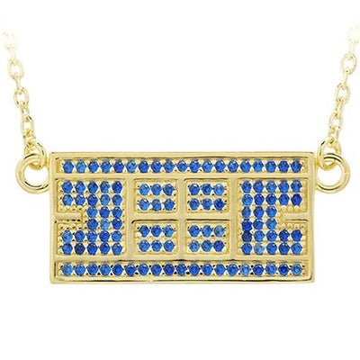 CZ Tennis Court Necklace Medium 14kt gold plated Sterling