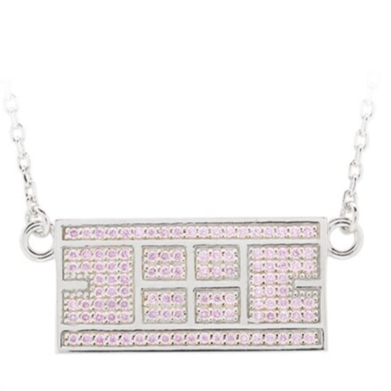 CZ Tennis Court Necklace Medium Rhodium