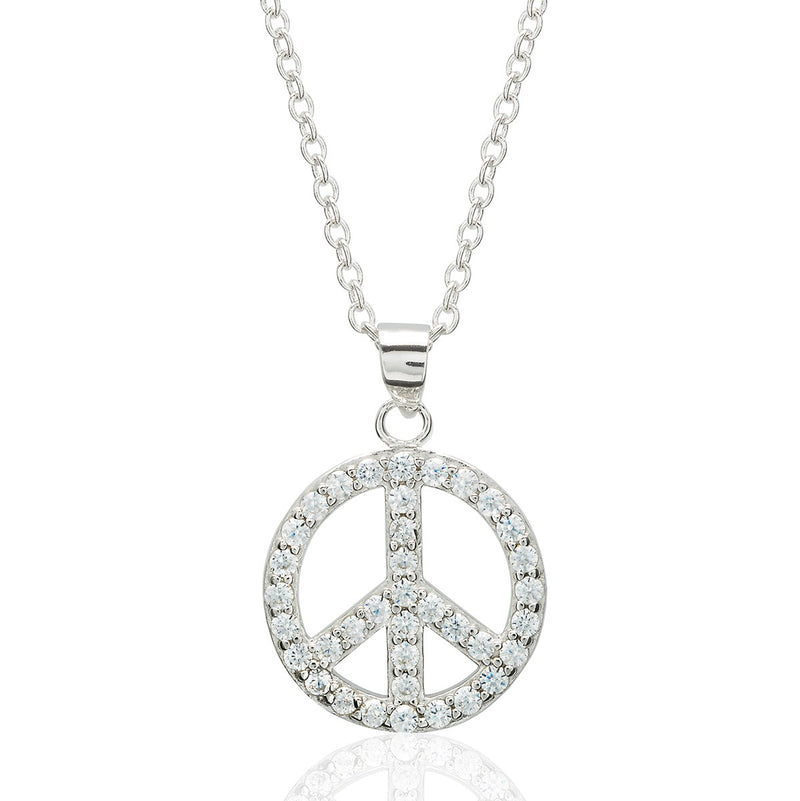 CZ Peace Sign Pendant