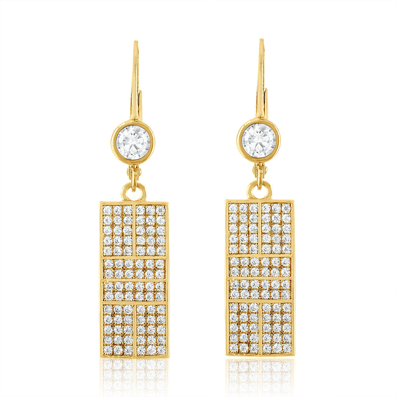 CZ Pickleball Court Leverback Earrings - studio-margaret