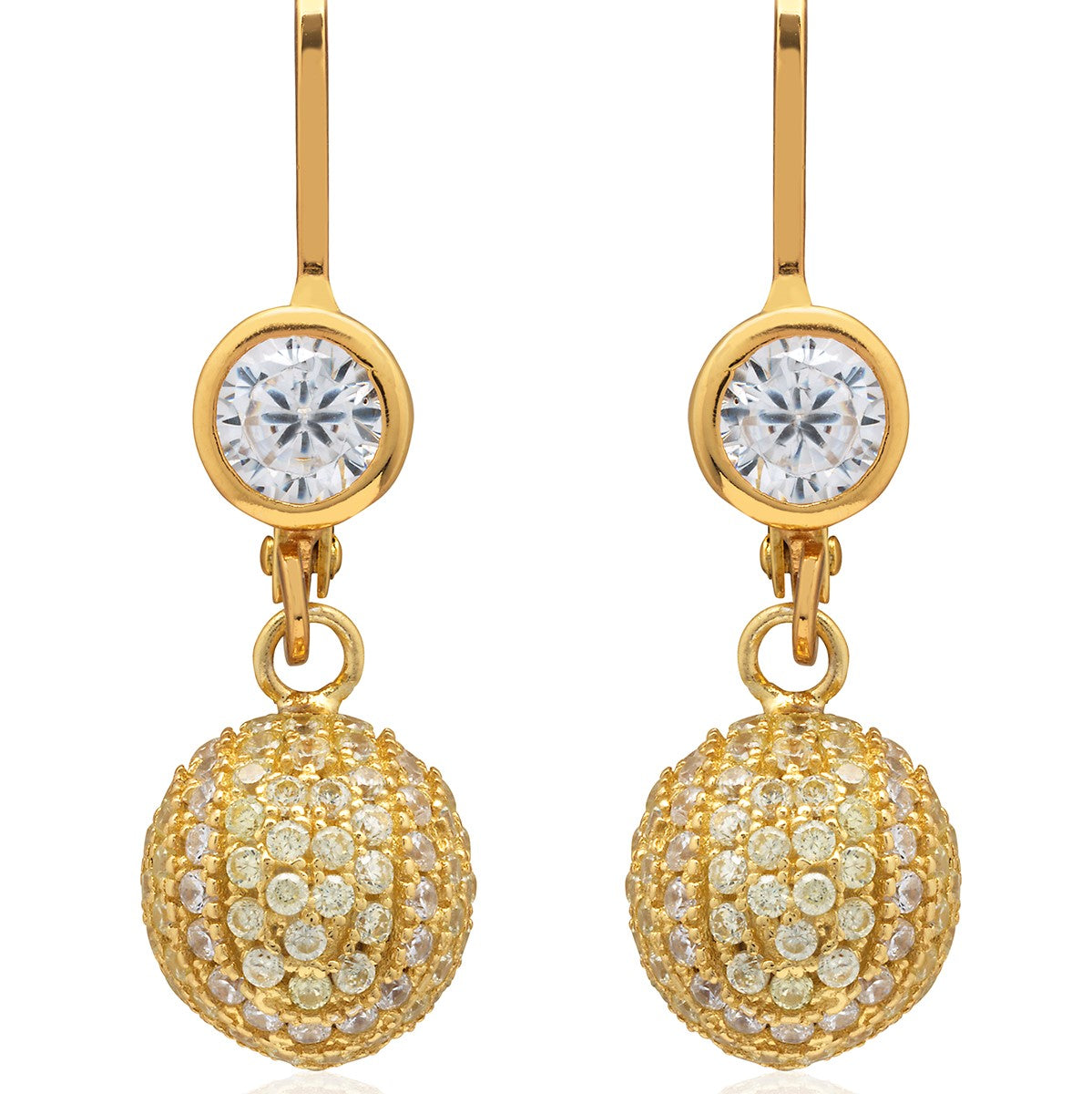 CZ Pave Tennis Ball Lever Back Earrings