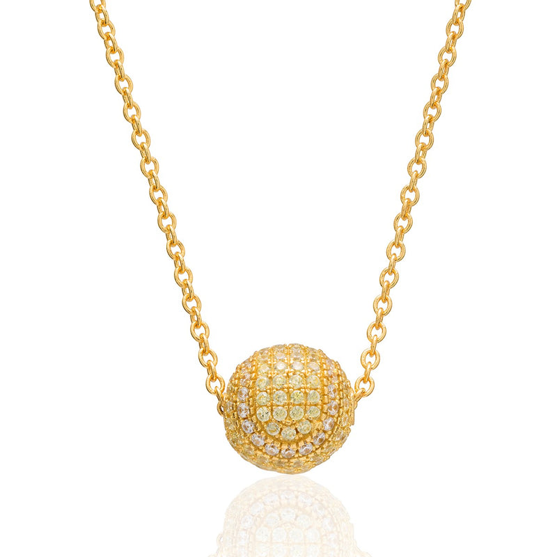 Cubic Zirconia Pave Tennis Ball Bead Necklace - studio-margaret