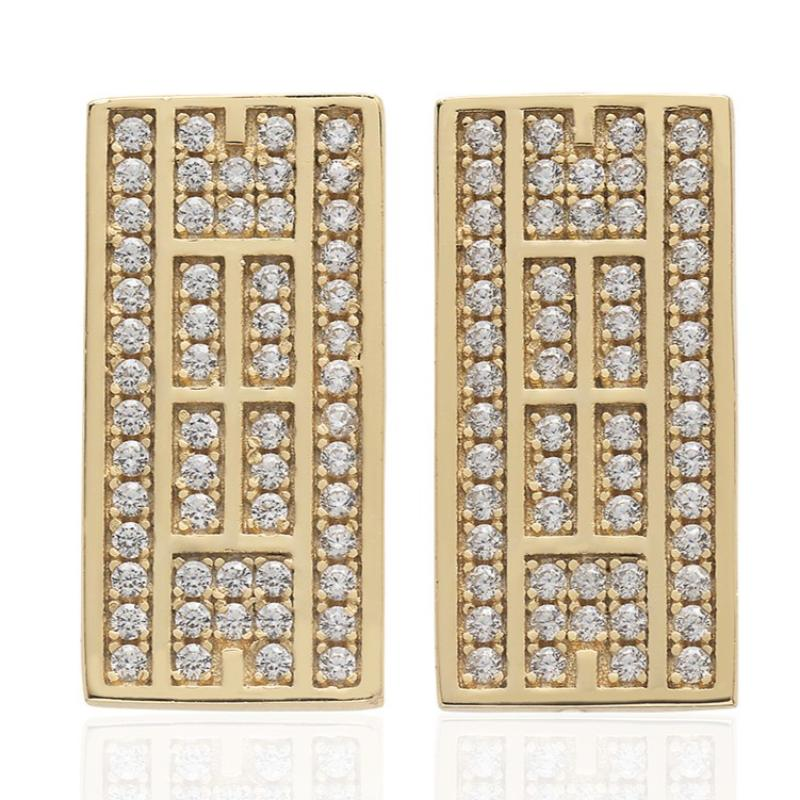 CZ Tennis Court Post Earrings