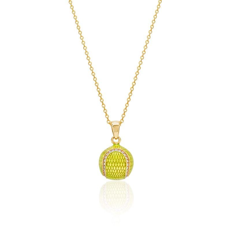 Diamond Enamel Tennis Ball Pendant