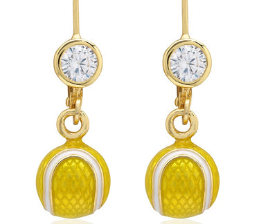 Enamel Tennis Ball Lever Back Earrings