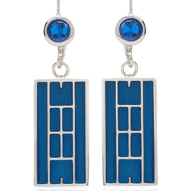 Enamel Tennis Court Lever Back Earrings
