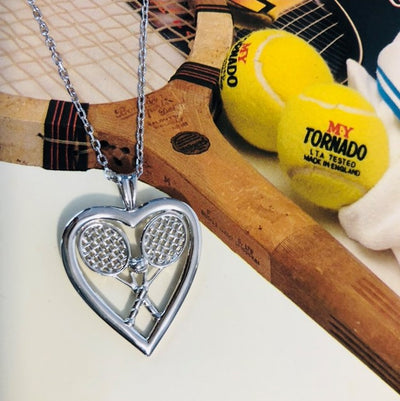 Heart with Double Racquets and Ball Pendant