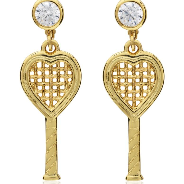 Heart Racquet Lever Back Earrings