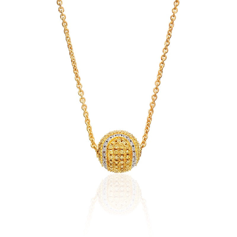 14Kt Yellow Gold and Diamond Pave Tennis Ball Necklace
