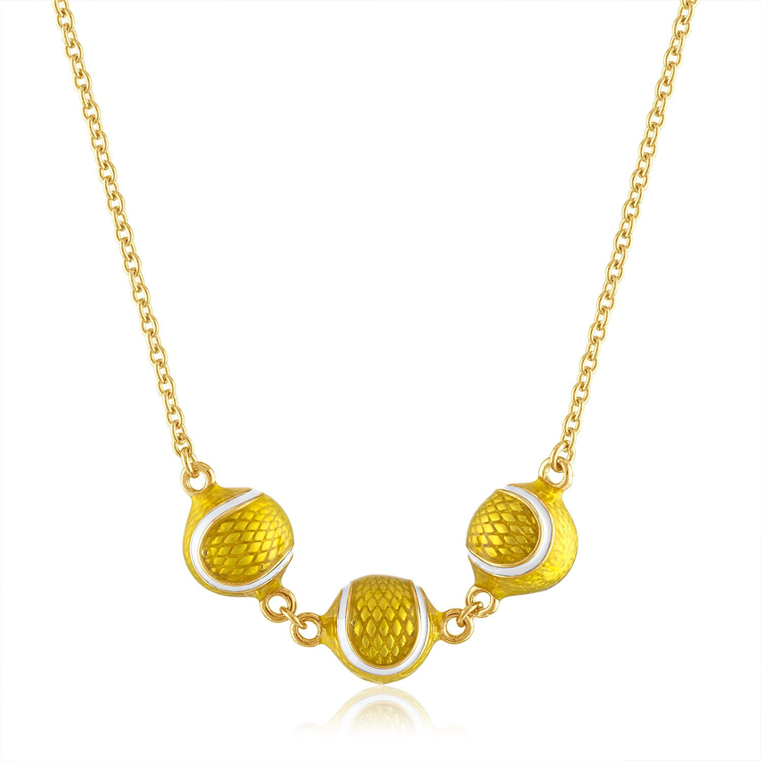 Enamel Three Tennis Ball Necklace