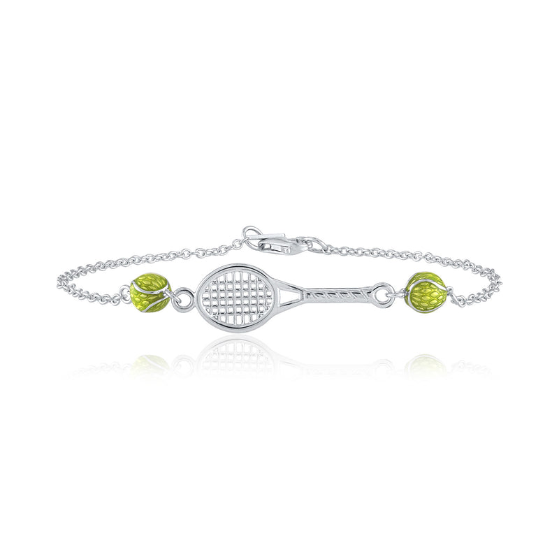 Tennis Racquet with 2 enamel Tennis Balls Bracelet