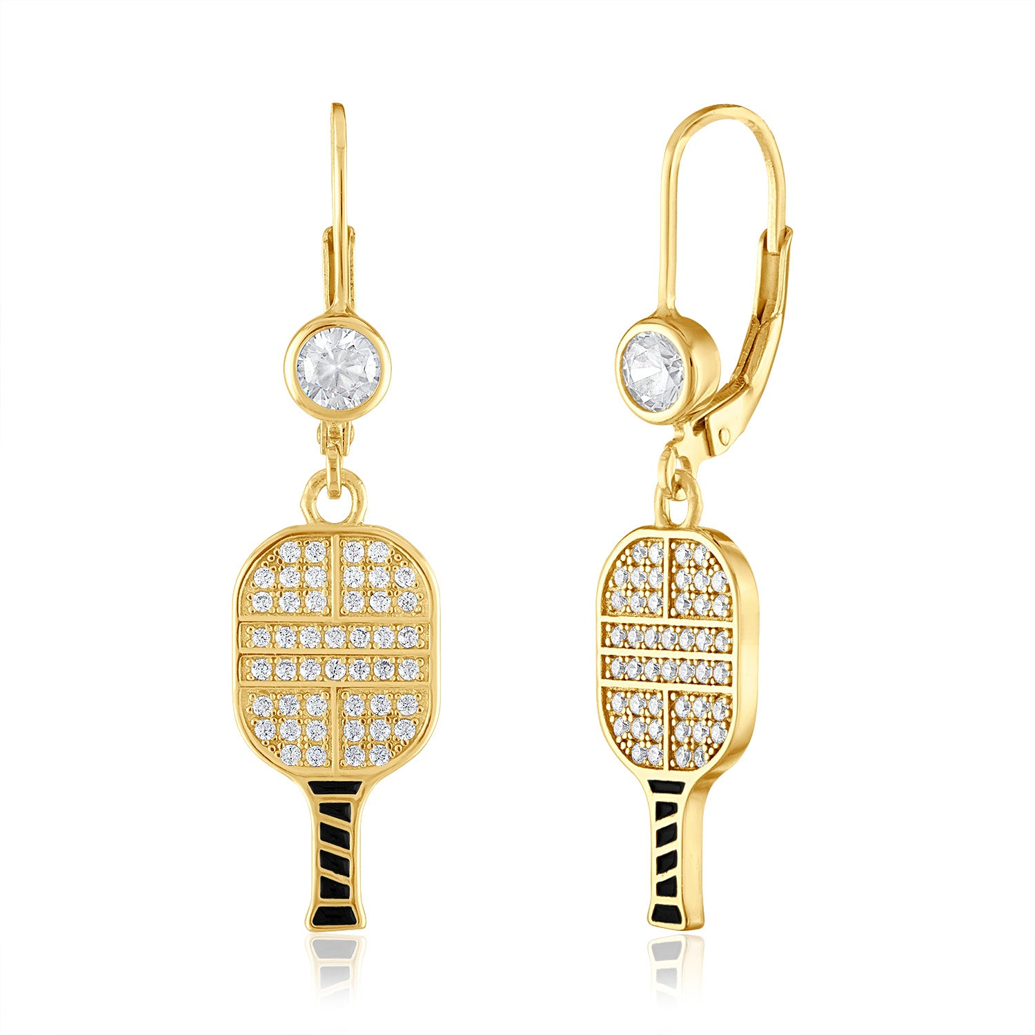 CZ Pickle Paddle Lever Back Earrings