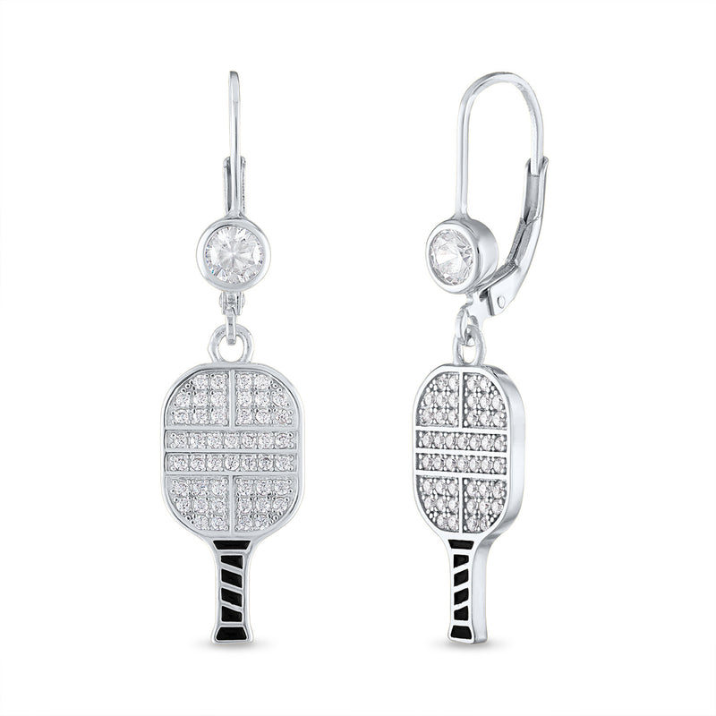 CZ Pickleball Paddle Lever Back Earrings