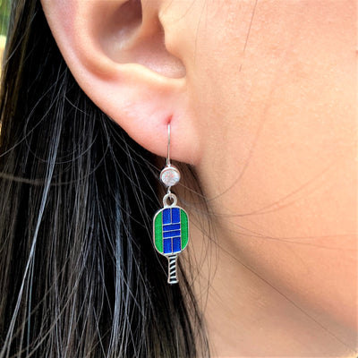 Enamel Pickleball Paddle Lever Back Earrings