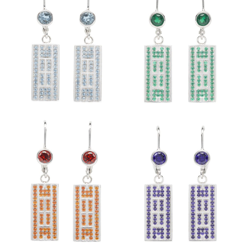 Tennis Court  Earrings w/CZ, Leverback (5 Colors) - studio-margaret