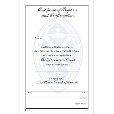 Certificate of Baptism and Confirmation
