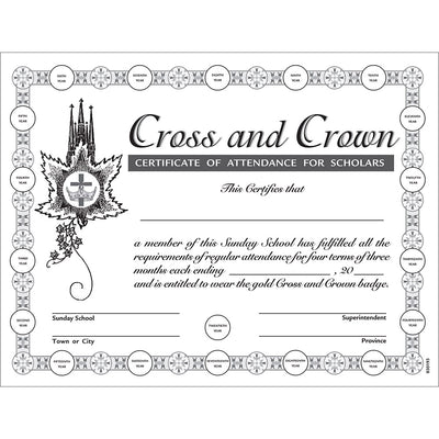 Cross and Crown Award Program: Attendance Certificate