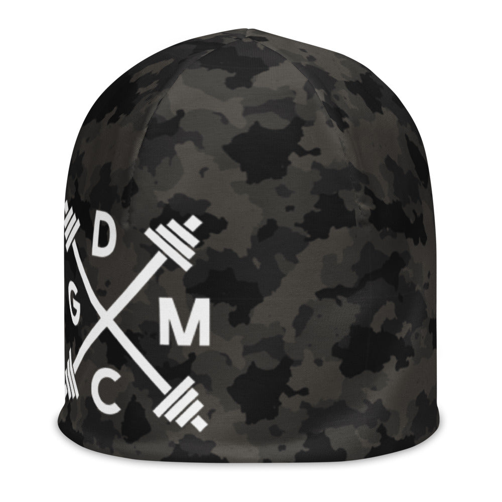 Gym Class Camo Barbells -  All-Over Print Beanie